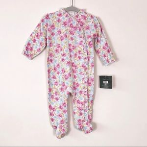 NEW Laura Ashley Baby Girl Blue Floral Sleeper 3-6
